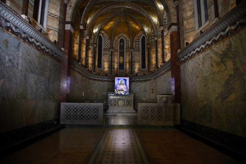 Picture of artist Grayson Perry on the Fitzrovia Chapel altar.