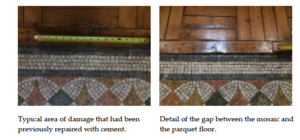 Two pictures of the damaged floor of the Fitzrovia Chapel London
